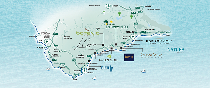 Map New properties for sale Costa del Sol