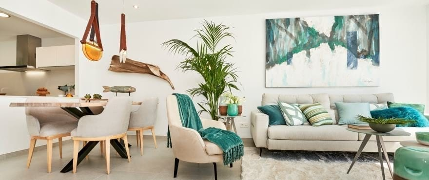 Bright living room in Canyamel, with large terraces close to the sea