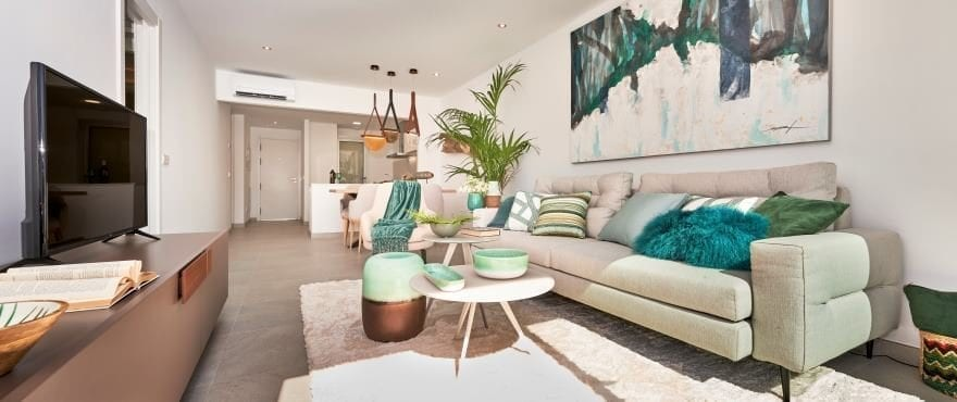 Bright living room at the new residential in Canyamel