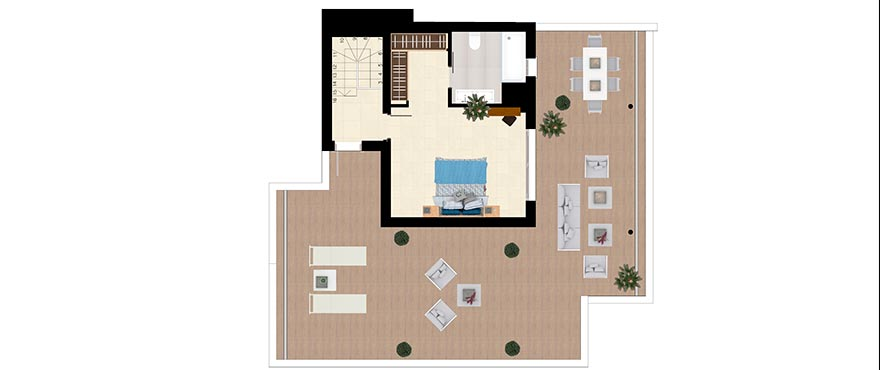 Plan Type C - Duplex with 3 bedrooms and 3 bathrooms