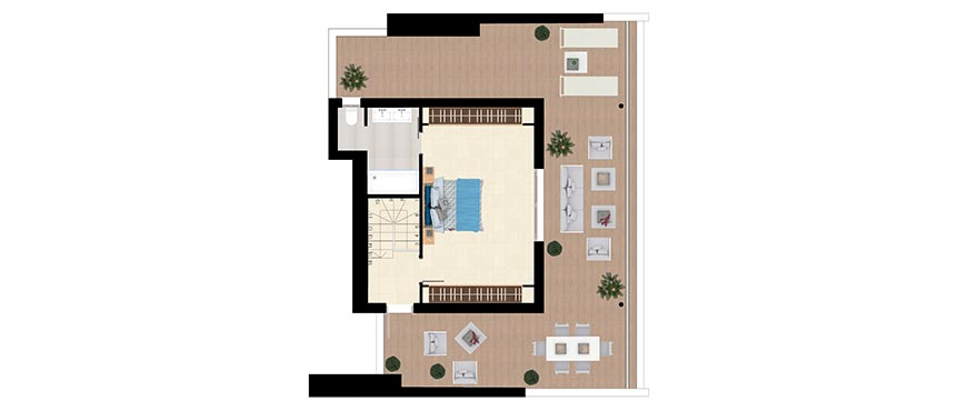 Plan Type D - Duplex with 3 bedrooms and 3 bathrooms