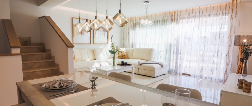 Luminous and inviting living room at Horizon Golf, New townhouses for sale