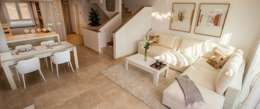 Spacious living room with access to the kitchen