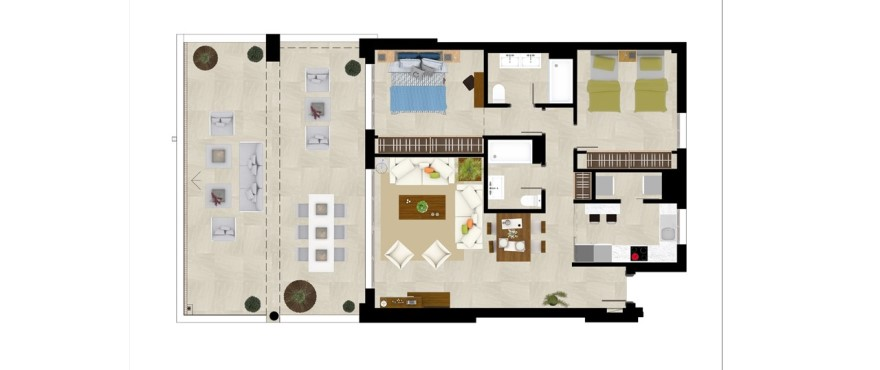 Grand view, plan 2 bedroom apartment