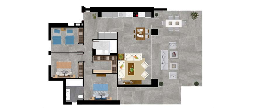 Plan type A – apartment with 3 bedrooms and 2 bathrooms