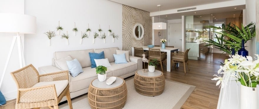 Pier, bright living room at the new apartments for sale in La Marina Sotogrande