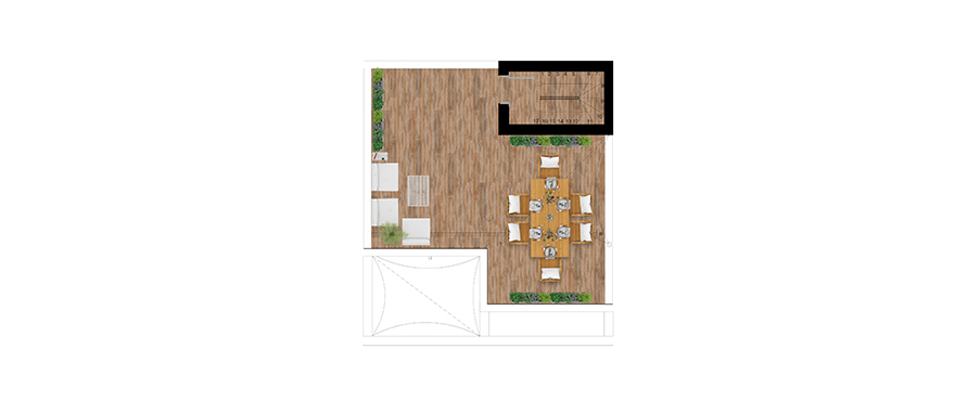 Pier, plan 2 bedrooms, Penthouse, solarium