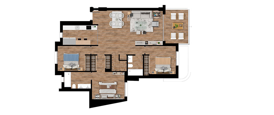 Pier, plan 3 bedrooms, Penthouse