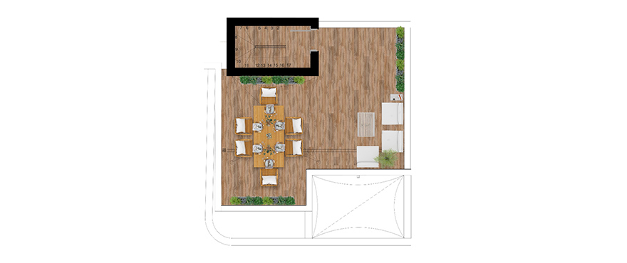 Pier, plan 3 bedrooms, Penthouse, solarium