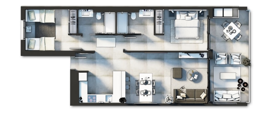 Sunset Ibiza, Plan of the 2 bedroom home