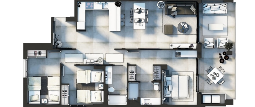 Sunset Ibiza, Plan of the 3 bedroom home