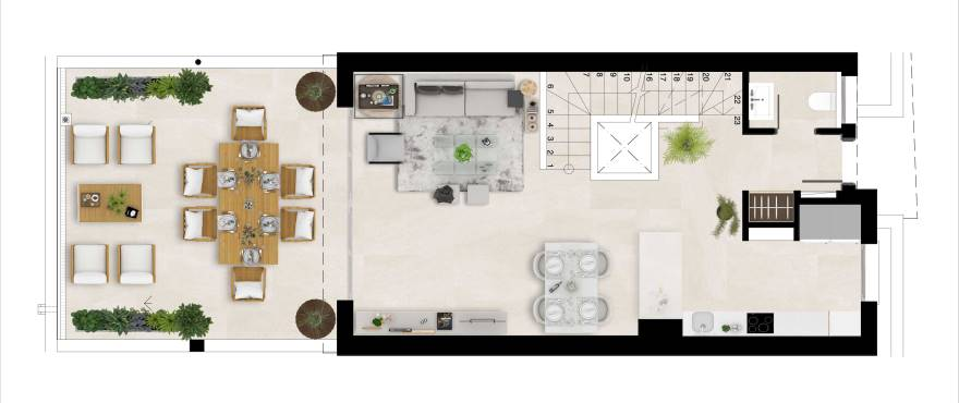 Natura – plan of the ground floor, living room, dining room, kitchen, terrace and cloakroom