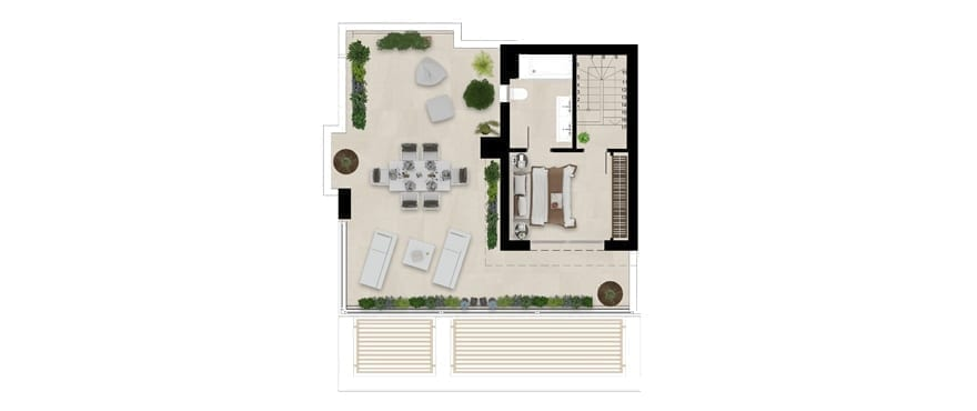 Plan penthouse home with solarium, 3 bedrooms, Emerald Greens