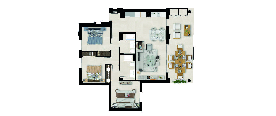 Sun Valley, plan 3 bedrooms