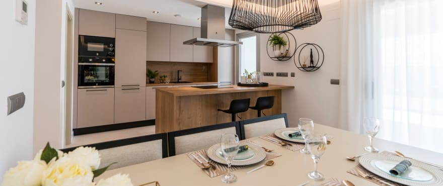 Integrated living room and kitchen at the new development for sale at Harmony