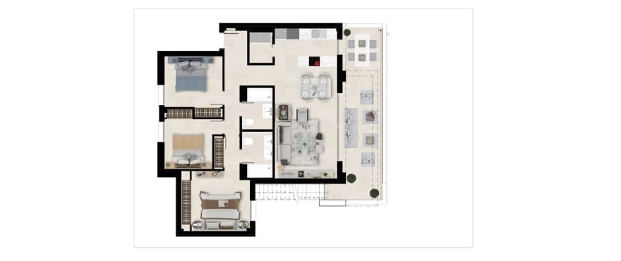 Harmony, plan 3 bedrooms, Penthouse